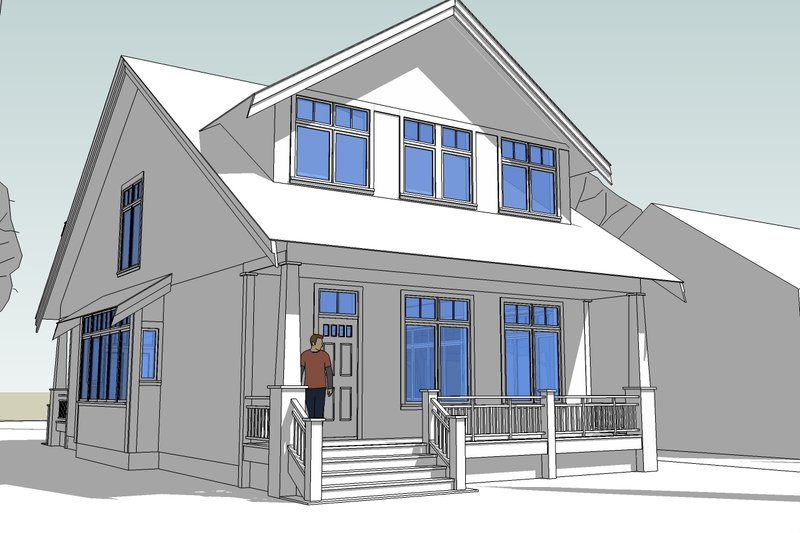 Craftsman Style House Plan - 3 Beds 2.5 Baths 2100 Sq/Ft Plan #528-3 Exterior - Front Elevation