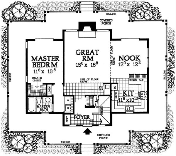 Country Floor Plan - Main Floor Plan Plan #72-484