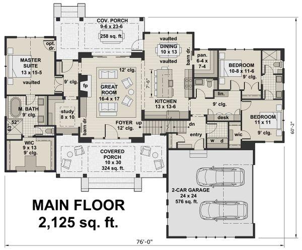 Farmhouse Floor Plan - Main Floor Plan Plan #51-1134