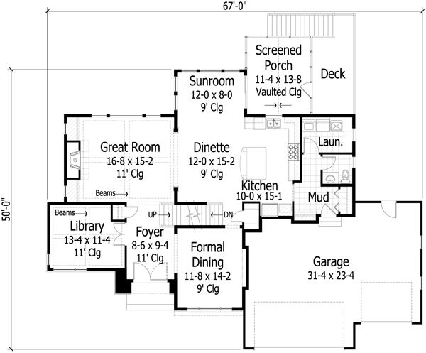 Traditional Floor Plan - Main Floor Plan Plan #51-444