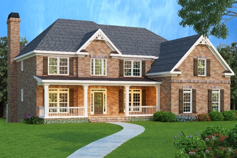 European Style House Plan - 5 Beds 4.5 Baths 3919 Sq/Ft Plan #419-136 Exterior - Front Elevation