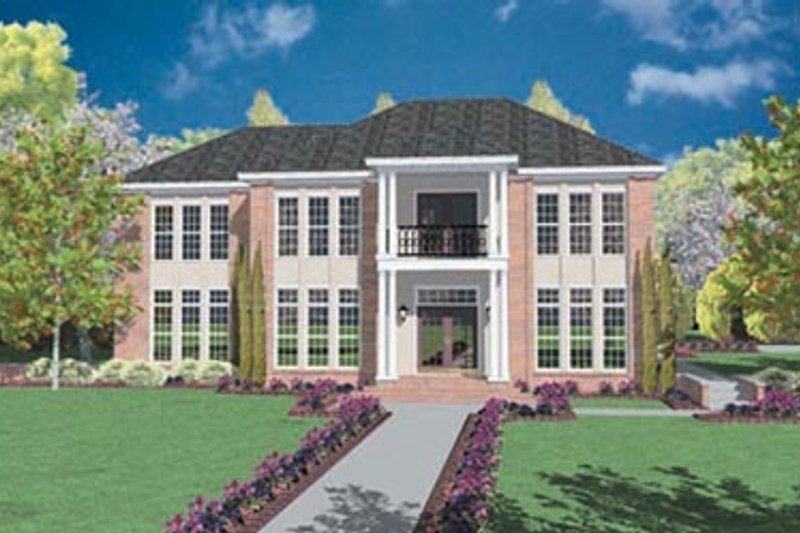 House Plan - 4 Beds 3.5 Baths 3366 Sq/Ft Plan #36-233 Exterior - Front Elevation