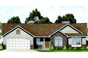 Architectural House Design - Ranch Exterior - Front Elevation Plan #58-207