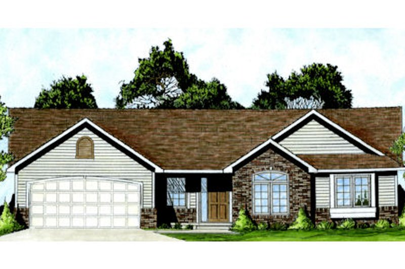 Ranch Style House Plan - 3 Beds 2 Baths 1248 Sq/Ft Plan #58-207 Exterior - Front Elevation