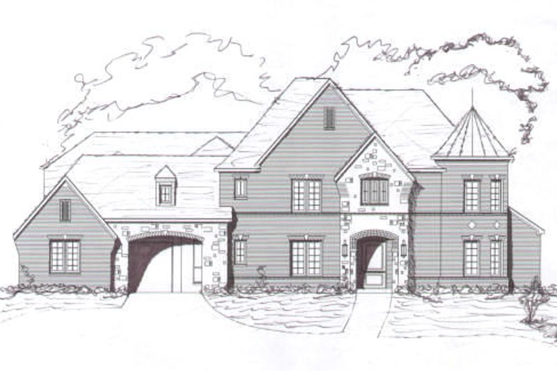 European Style House Plan - 5 Beds 4.5 Baths 4812 Sq/Ft Plan #141-191 Exterior - Front Elevation