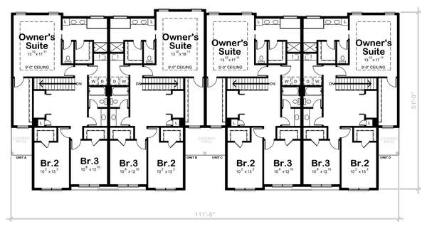 Dream House Plan - Traditional Floor Plan - Upper Floor Plan #20-2382