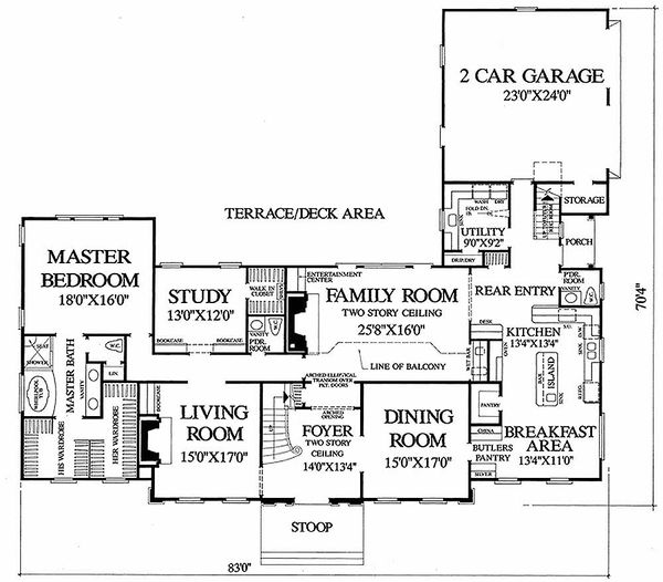 Colonial Floor Plan - Main Floor Plan Plan #137-112