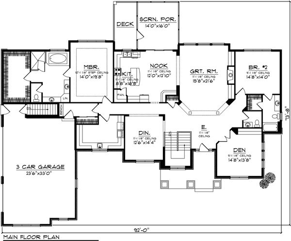 Ranch Floor Plan - Main Floor Plan Plan #70-1036