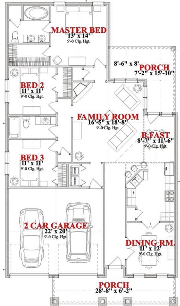Craftsman Floor Plan - Main Floor Plan Plan #63-276