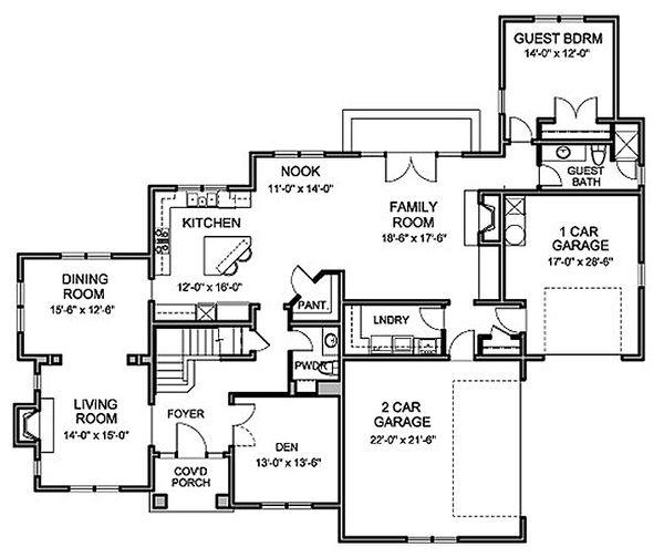 Traditional Floor Plan - Main Floor Plan Plan #490-22