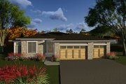 Ranch Style House Plan - 3 Beds 2.5 Baths 1800 Sq/Ft Plan #70-1266 Exterior - Front Elevation