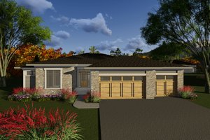 Dream House Plan - Ranch Exterior - Front Elevation Plan #70-1266