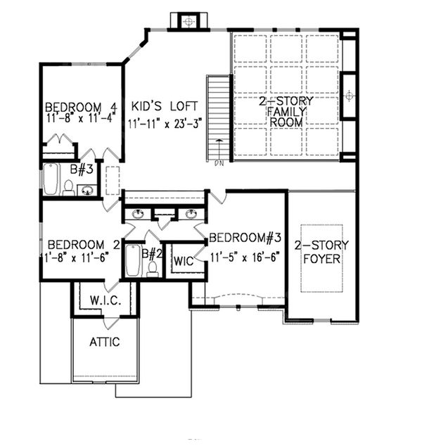 Traditional Floor Plan - Upper Floor Plan Plan #54-409