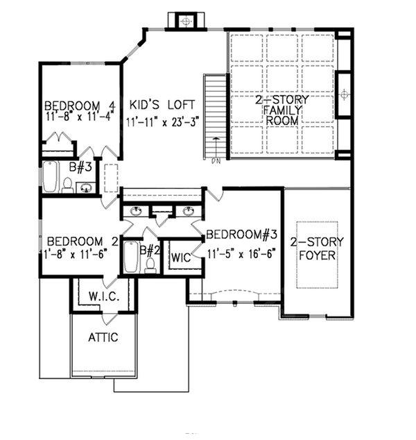 Dream House Plan - Traditional Floor Plan - Upper Floor Plan #54-409