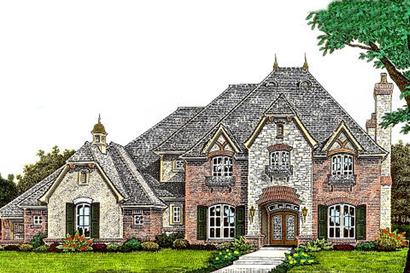 European Style House Plan - 4 Beds 3.5 Baths 4214 Sq/Ft Plan #310-974 Exterior - Front Elevation