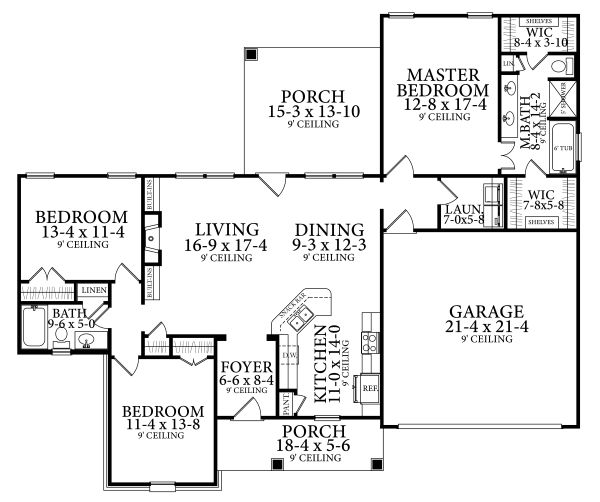 Cottage Floor Plan - Main Floor Plan Plan #406-9661