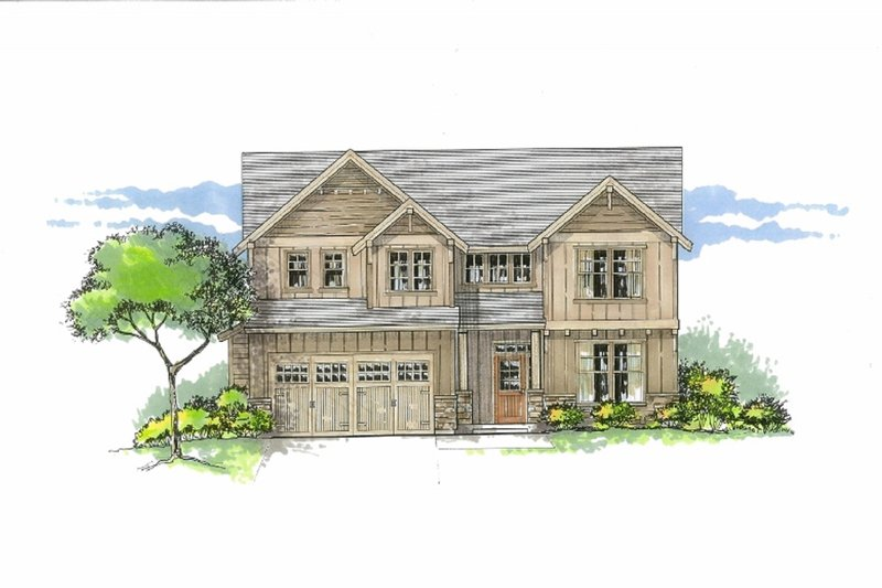Craftsman Exterior - Front Elevation Plan #53-535