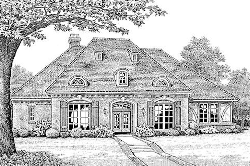 European Style House Plan - 2 Beds 2.5 Baths 2641 Sq/Ft Plan #310-266 Exterior - Front Elevation