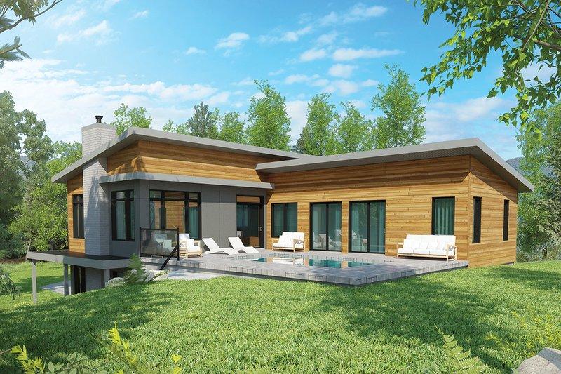 House Blueprint - Contemporary Exterior - Rear Elevation Plan #23-2314