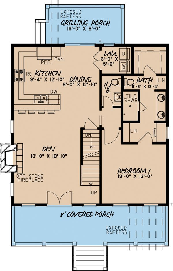 Cabin Floor Plan - Main Floor Plan Plan #923-9