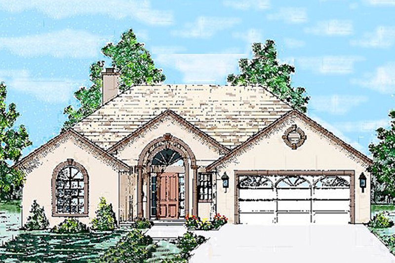 Mediterranean Style House Plan - 3 Beds 2 Baths 1501 Sq/Ft Plan #52-101 Exterior - Front Elevation