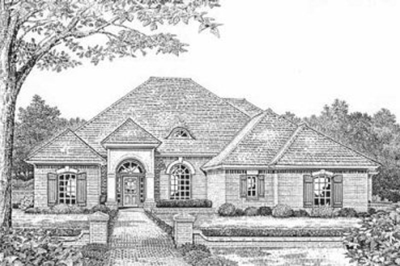 European Style House Plan - 4 Beds 3 Baths 2582 Sq/Ft Plan #310-600 Exterior - Front Elevation