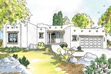 Architectural House Design - Adobe / Southwestern Exterior - Front Elevation Plan #124-437