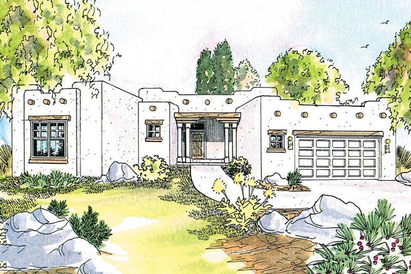 Adobe / Southwestern Style House Plan - 3 Beds 2 Baths 1760 Sq/Ft Plan #124-437 Exterior - Front Elevation