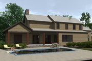 Craftsman Style House Plan - 4 Beds 3 Baths 2860 Sq/Ft Plan #1071-23 Exterior - Rear Elevation
