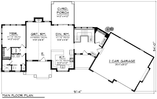 Ranch Floor Plan - Main Floor Plan Plan #70-1173