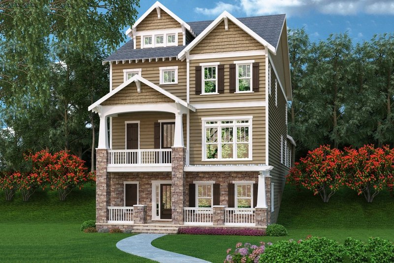 Dream House Plan - Craftsman Exterior - Front Elevation Plan #419-276