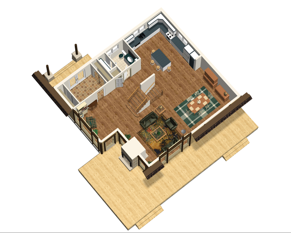 Cabin Floor Plan - Main Floor Plan Plan #25-4737