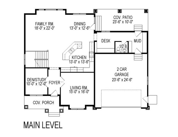 Craftsman Floor Plan - Main Floor Plan Plan #920-75