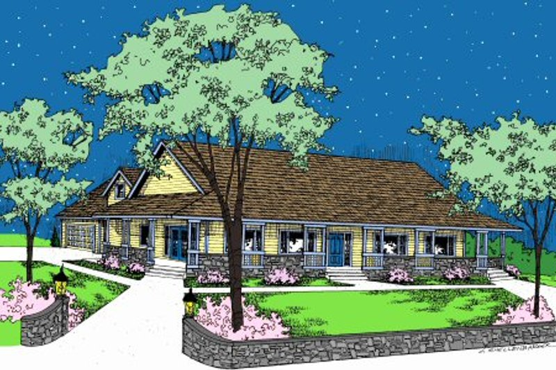Ranch Style House Plan - 3 Beds 3 Baths 2048 Sq/Ft Plan #60-102 Exterior - Front Elevation