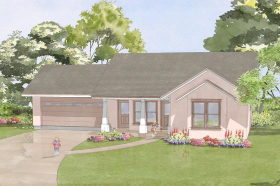 Craftsman Exterior - Front Elevation Plan #515-10