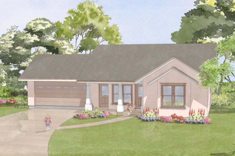 Craftsman Style House Plan - 1 Beds 2 Baths 836 Sq/Ft Plan #515-10 Exterior - Front Elevation