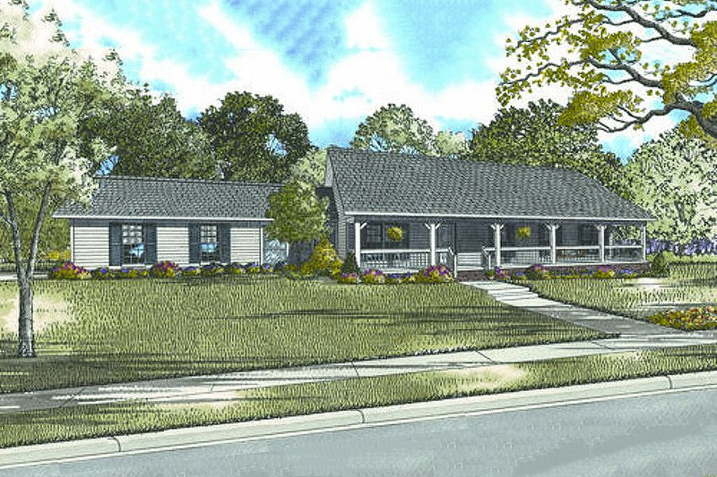 Ranch Style House Plan - 3 Beds 2 Baths 1800 Sq/Ft Plan #17-2142 Exterior - Front Elevation