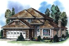 House Blueprint - European Exterior - Front Elevation Plan #18-243