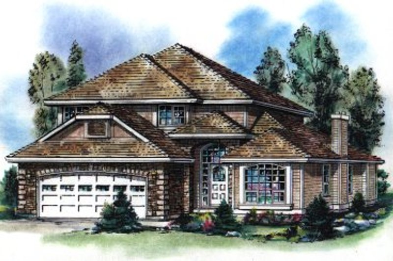 House Blueprint - European Exterior - Front Elevation Plan #18-243