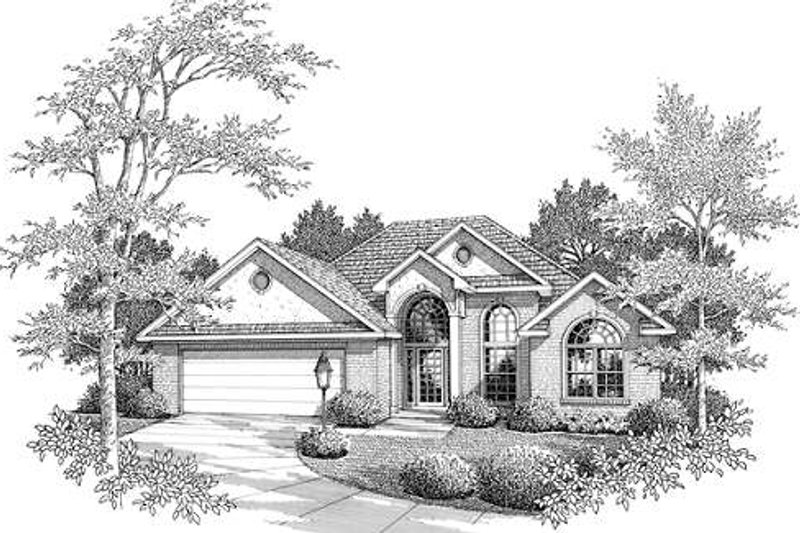 European Style House Plan - 3 Beds 2.5 Baths 1893 Sq/Ft Plan #14-235 Exterior - Front Elevation