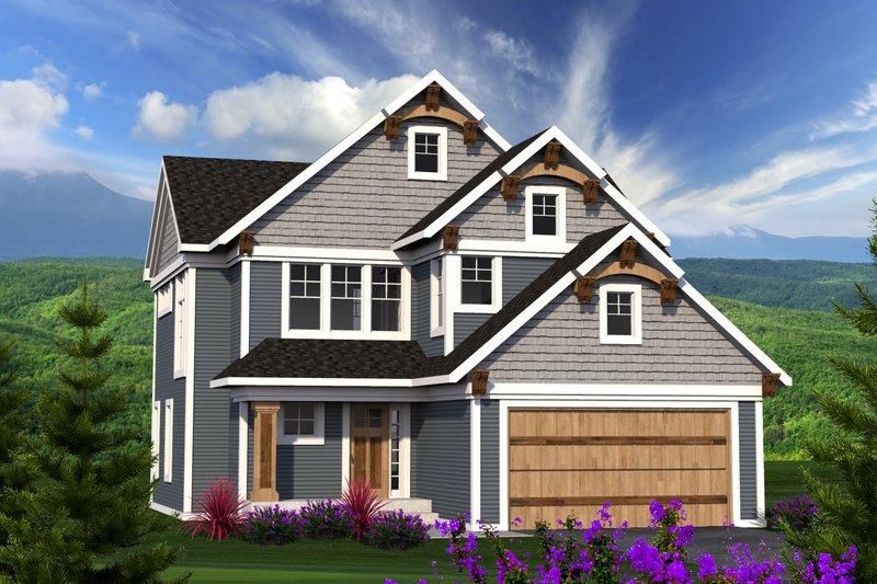 Architectural House Design - Craftsman Exterior - Front Elevation Plan #70-1210