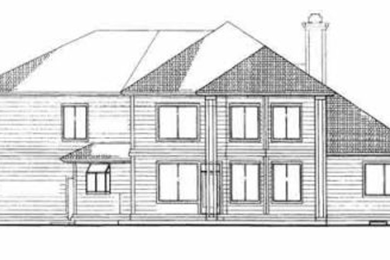 Traditional Exterior - Rear Elevation Plan #72-375 - Houseplans.com