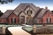 European Style House Plan - 4 Beds 3.5 Baths 3709 Sq/Ft Plan #310-945 Exterior - Front Elevation