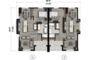 Contemporary Style House Plan - 2 Beds 2 Baths 1934 Sq/Ft Plan #25-4352 Floor Plan - Main Floor Plan