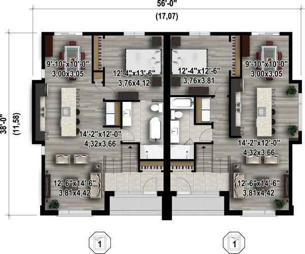 Contemporary Floor Plan - Main Floor Plan Plan #25-4352