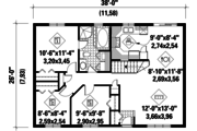 Country Style House Plan - 3 Beds 1 Baths 988 Sq/Ft Plan #25-4802 Floor Plan - Main Floor Plan
