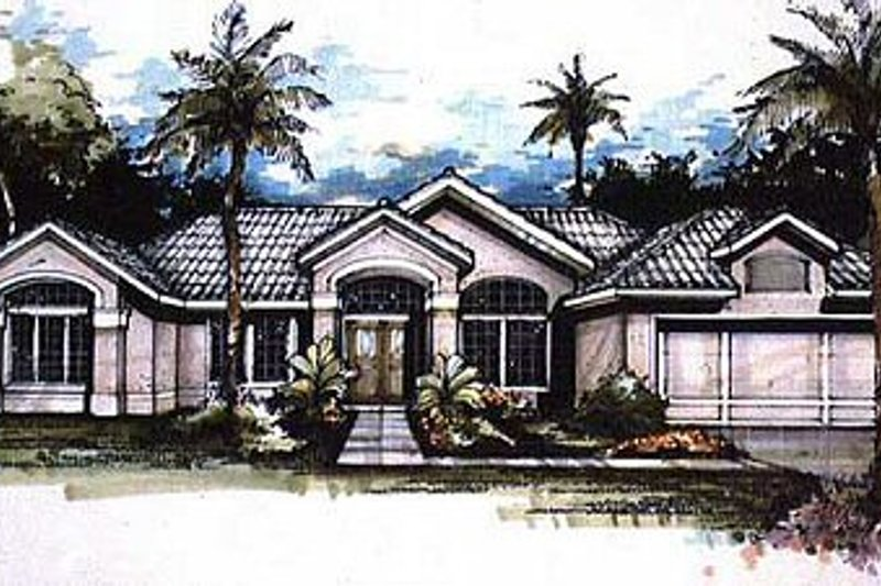 Mediterranean Style House Plan - 4 Beds 2.5 Baths 2094 Sq/Ft Plan #320-141 Exterior - Front Elevation