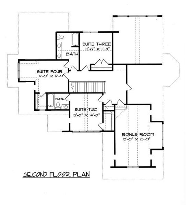 Tudor Floor Plan - Upper Floor Plan Plan #413-140