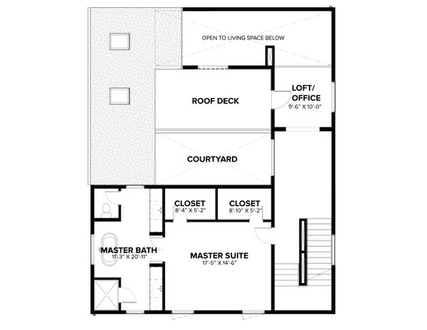Modern Floor Plan - Upper Floor Plan Plan #1076-2