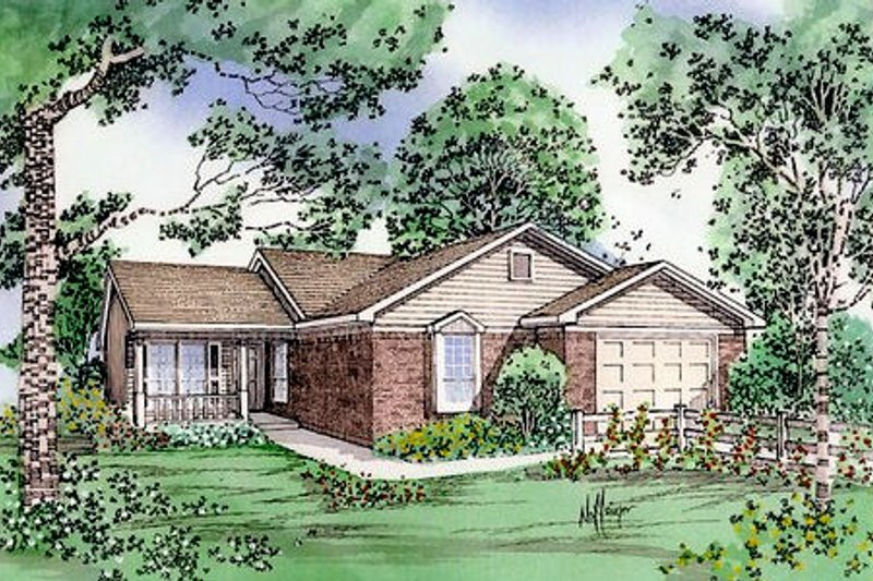 Country Exterior - Front Elevation Plan #405-127 - Houseplans.com